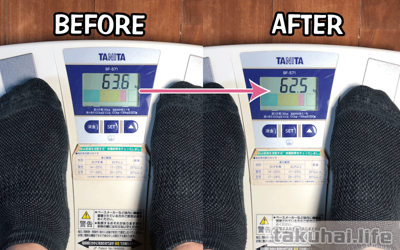nosh糖質制限ダイエット1~2週間の体重変化